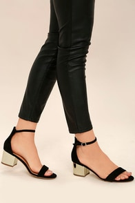 Reunion Black and Gold Ankle Strap Heels