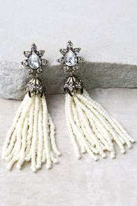 Faithfully Ivory Beaded Tassel Earrings