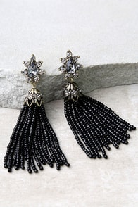 Faithfully Black Beaded Tassel Earrings