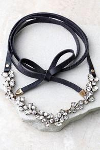 Telekinetic Black Rhinestone Wrap Necklace