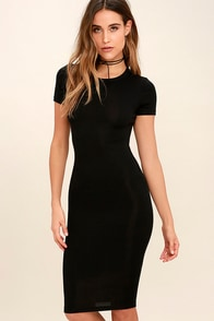 Like Minded Black Bodycon Midi Dress