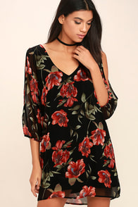 Shifting Dears Black and Red Floral Print Long Sleeve Dress