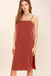 In Action Rust Red Satin Slip Dress