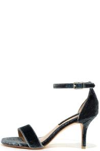 Steven by Steve Madden Viienna Blue Velvet Ankle Strap Heels