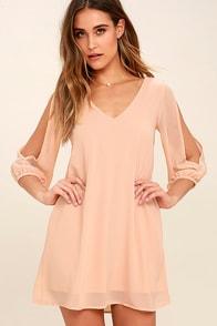 Shifting Dears Blush Pink Long Sleeve Dress