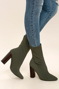 Araceli Olive Knit Mid-Calf High Heel Booties