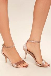 Steven by Steve Madden Viienna Blush Velvet Ankle Strap Heels