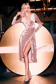 Enchant Me Blush Velvet Midi Wrap Dress