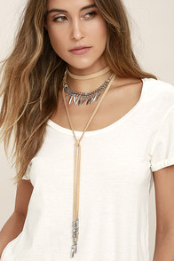 Ojai Silver and Beige Necklace Set
