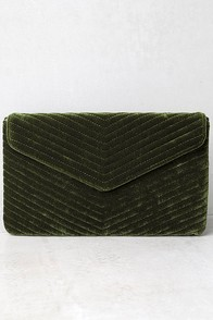 Keep it Poppin' Olive Green Velvet Clutch