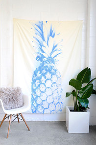 DENY Designs Blu Pineapple Cream and Blue Print Tapestry