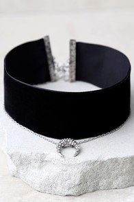 Under the Same Sky Silver and Black Velvet Choker Necklace