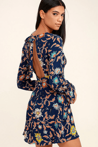 Open Country Navy Blue Floral Print Long Sleeve Dress