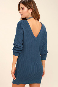 Bringing Sexy Back Denim Blue Backless Sweater Dress