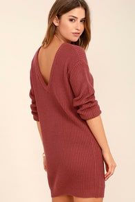 Bringing Sexy Back Rust Red Backless Sweater Dress