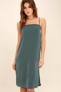 In Action Slate Blue Satin Slip Dress at Lulus.com!