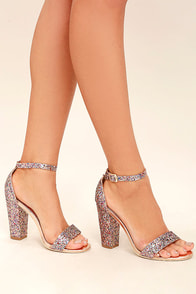 Starla Colorful Pink Glitter Ankle Strap Heels