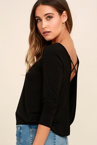 In a Day Black Backless Long Sleeve Top