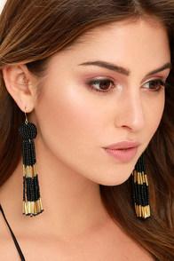 Vanessa Mooney Damzel Gold and Black Beaded Earrings
