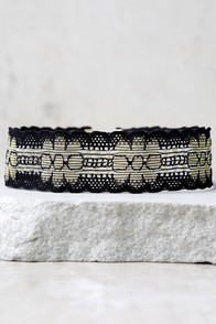 Vanessa Mooney Parisa Gold and Black Lace Choker Necklace