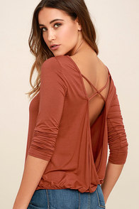 In a Day Rust Red Backless Long Sleeve Top