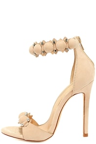 Meredith Nude Suede Ankle Strap Heels