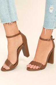 Romilda Camel Ankle Strap Heels