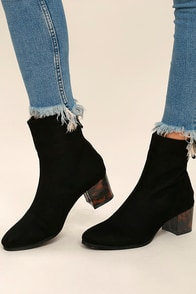 Gianna Black Suede Mid-Calf Boots