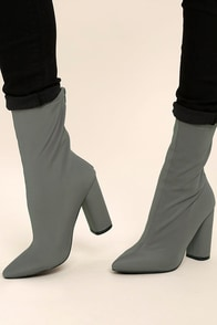 Araceli Grey Knit Mid-Calf High Heel Booties