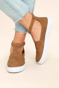 Anna Camel Nubuck T-Strap Sneakers