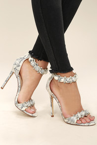 Meredith Snake Suede Ankle Strap Heels