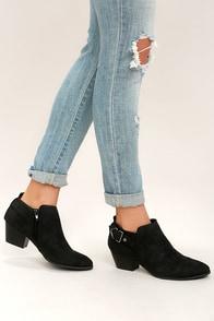 Trenna Black Nubuck Ankle Booties