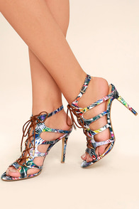 Daya by Zendaya Milo Floral Multi Lace-Up Heels Image
