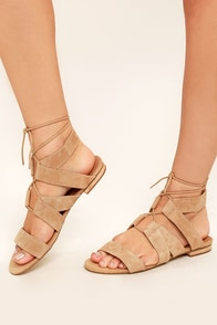 Steve Madden August Sand Suede Leather Lace-Up Sandals