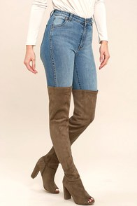 Aletha Taupe Suede Peep-Toe Thigh High Boots at Lulus.com!
