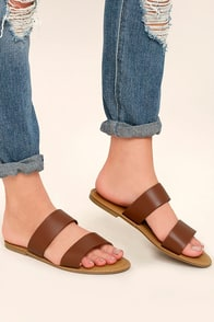 Sally Tan Slide Sandals Image