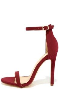 Almonaster Wine Nubuck Ankle Strap Heels