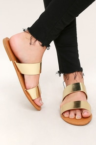 Sally Gold Slide Sandals Image