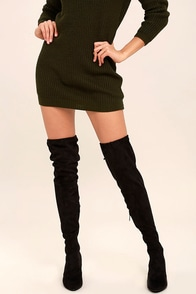 Anita Black Suede Over the Knee Boots