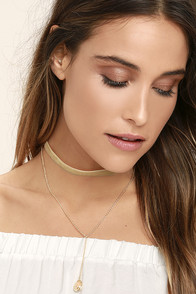 Bewitched Gold and Tan Velvet Choker Necklace Set