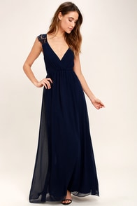Whimsical Wonder Navy Blue Lace Maxi Dress