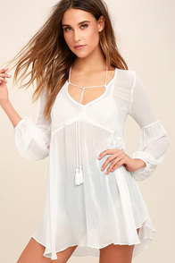 Celestial Being Sheer White Long Sleeve Tunic Top