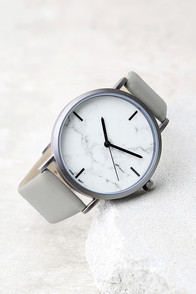 Clock Out White and Grey Marble Watch