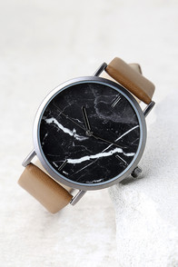 Clock Out Black and Brown Marble Watch