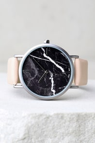 Clock Out Black and Blush Marble Watch