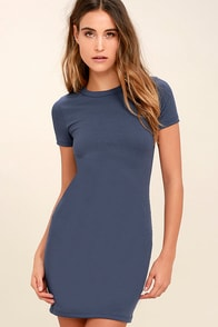 Hey Good Lookin' Short Sleeve Slate Blue Dress