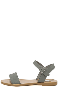 Steve Madden Donddi Blue Grey Nubuck Leather Flat Sandals Image