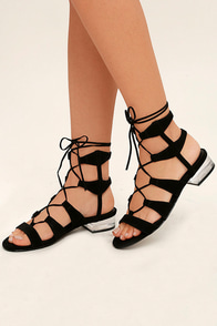 Steve Madden Chely Black Suede Leather Lace-Up Lucite Sandals