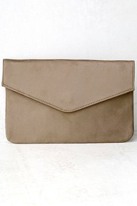 Check On It Taupe Clutch
