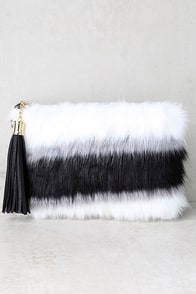 Go Fur It Black and White Faux Fur Clutch